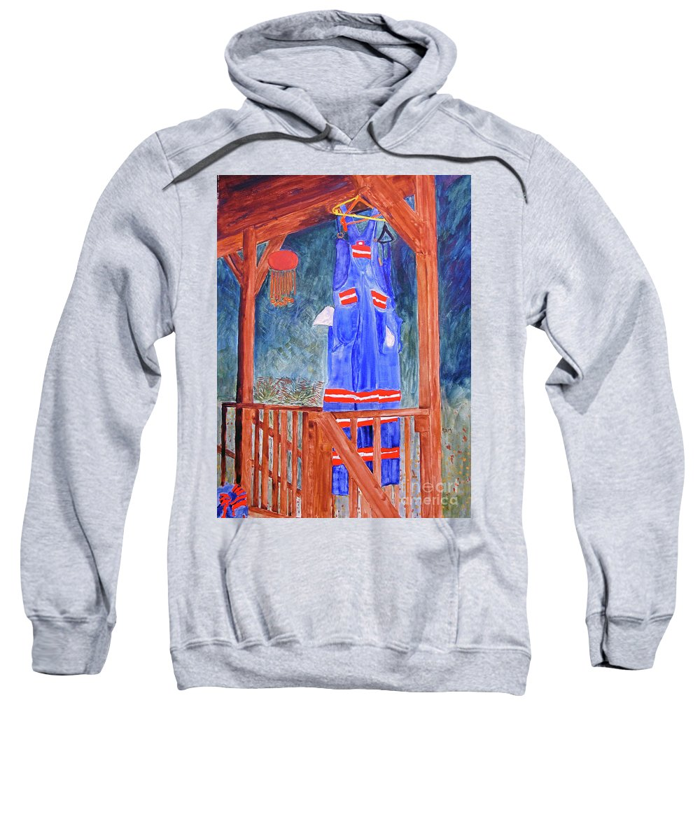 Miner Sweatshirt featuring the painting Miner's Overalls by Sandy McIntire