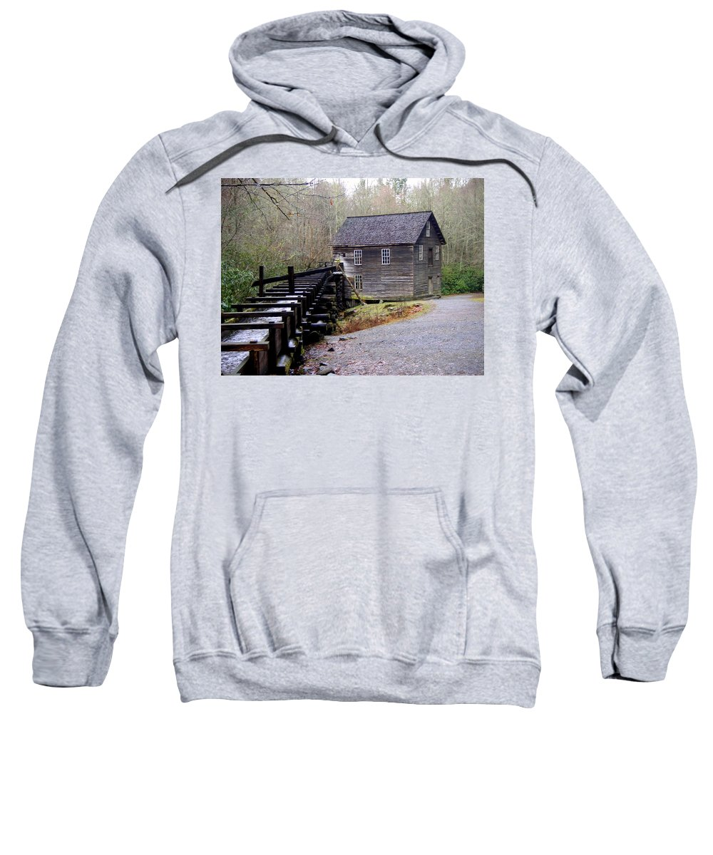 Great Smokey Mountain National Park Sweatshirt featuring the photograph Mingus Mill by Marty Koch