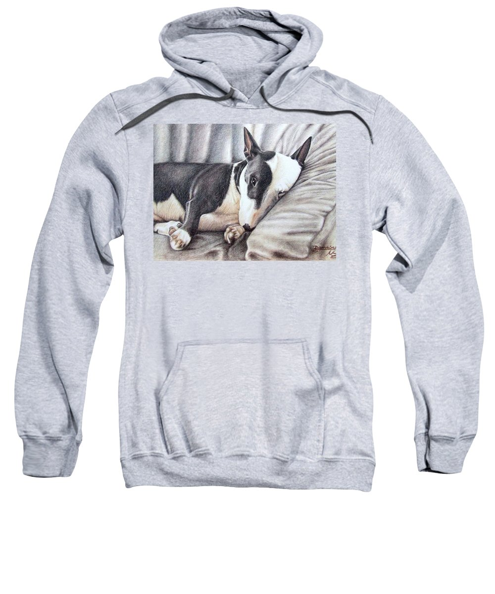 Dog Sweatshirt featuring the drawing Mini Bulldog Terrier by Nicole Zeug