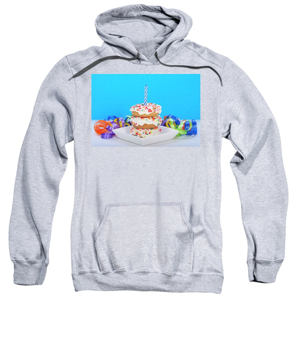 Background Sweatshirt featuring the photograph Mini Donut Cake With Blue Candle by Sheila Fitzgerald