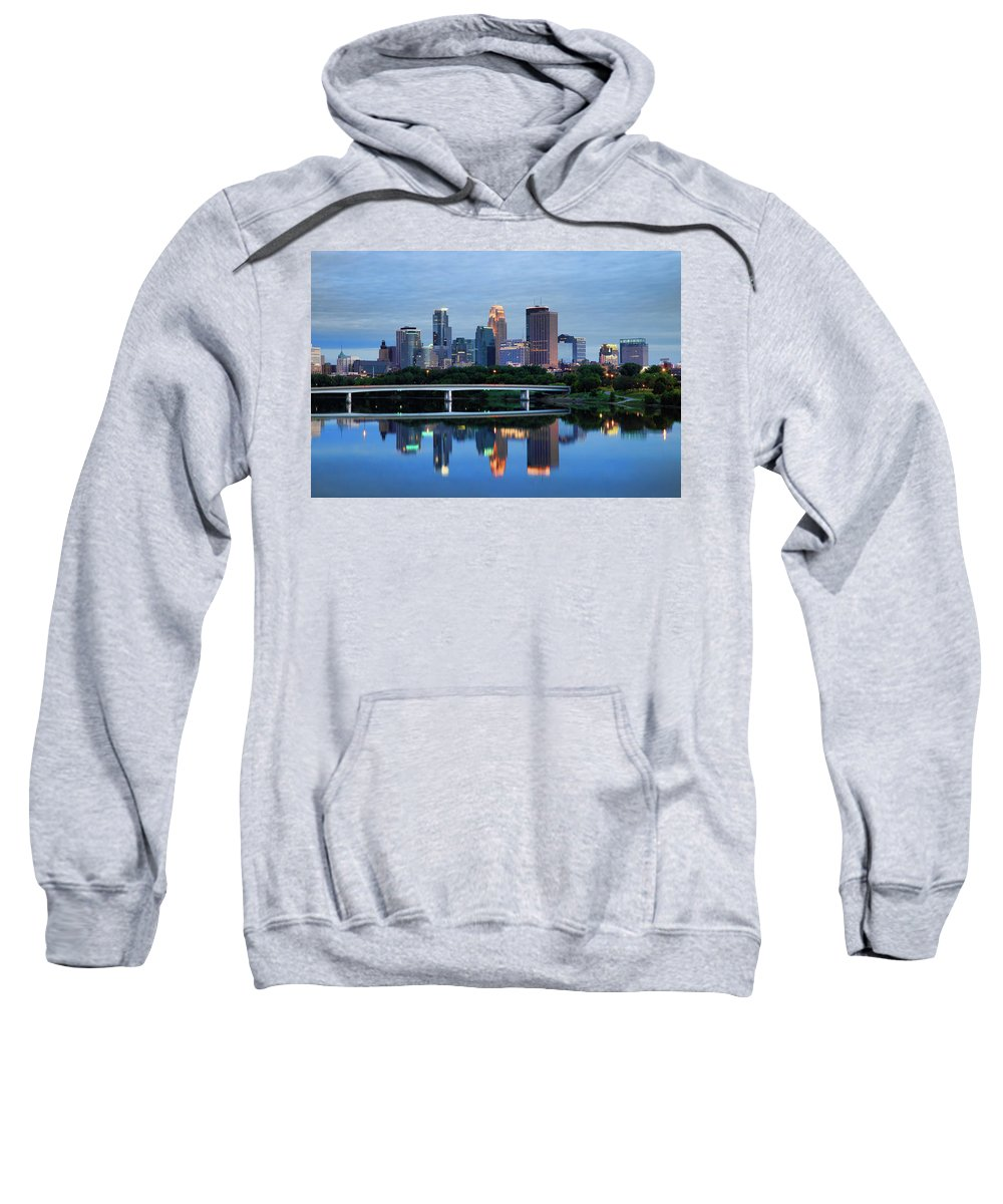 Minnesota Sweatshirt featuring the photograph Minneapolis Reflections by Rick Berk
