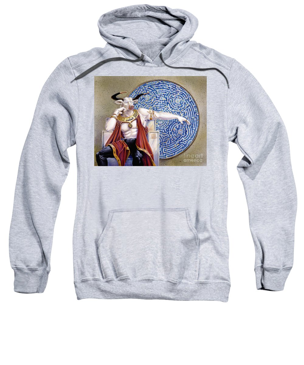 Anthropomorphic Sweatshirt featuring the painting Minotaur With Mosaic by Melissa A Benson