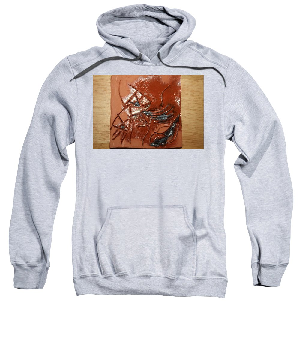 Jesus Sweatshirt featuring the ceramic art Mire - Tile by Gloria Ssali