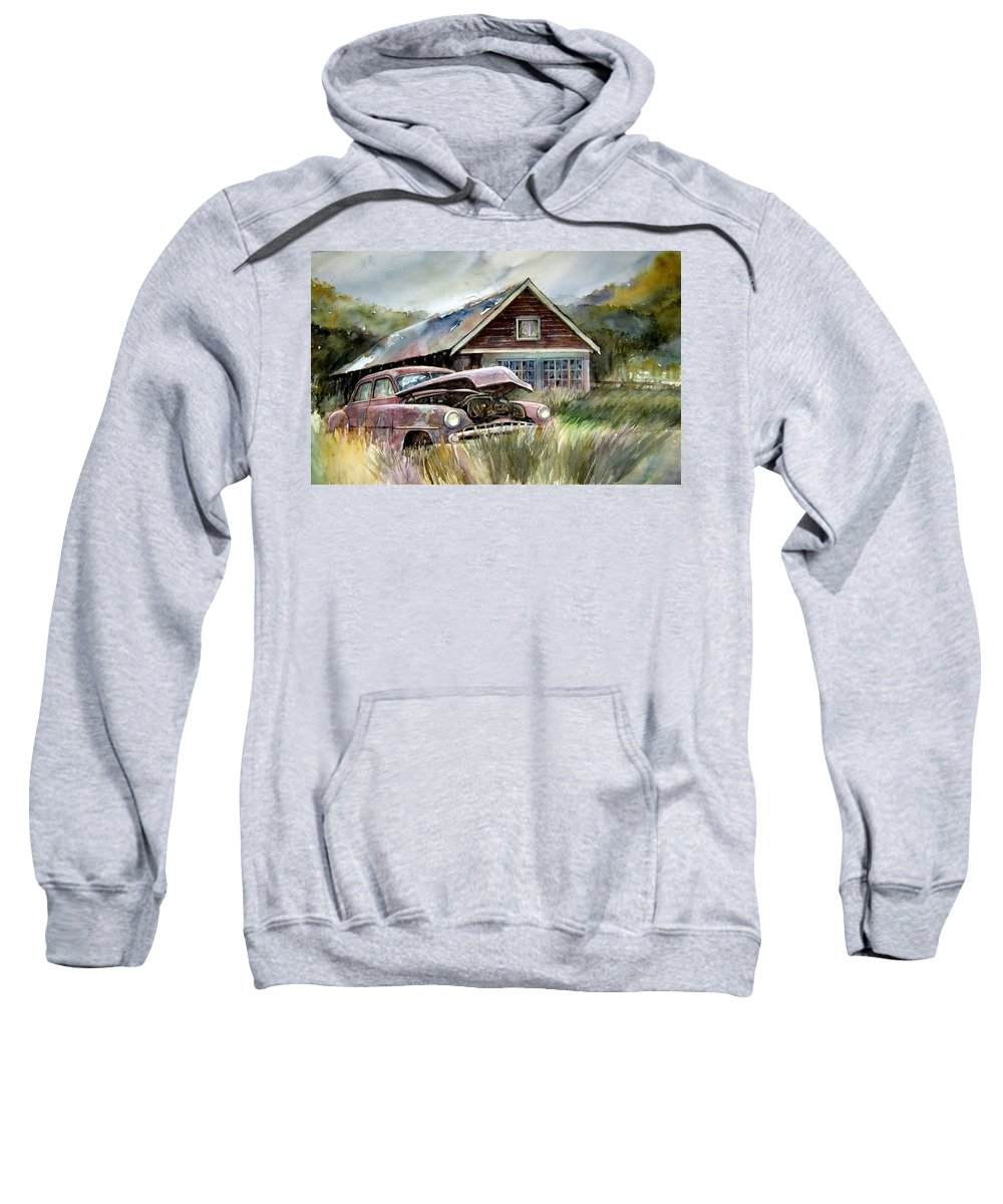 Car House Sweatshirt featuring the painting Miss Wilson's House by Ron Morrison