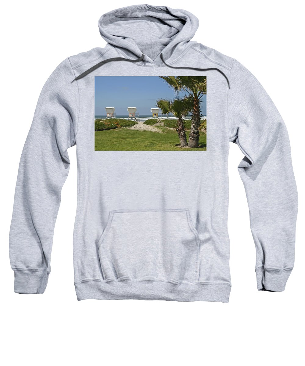 Beach Sweatshirt featuring the photograph Mission Beach Shelters by Margie Wildblood