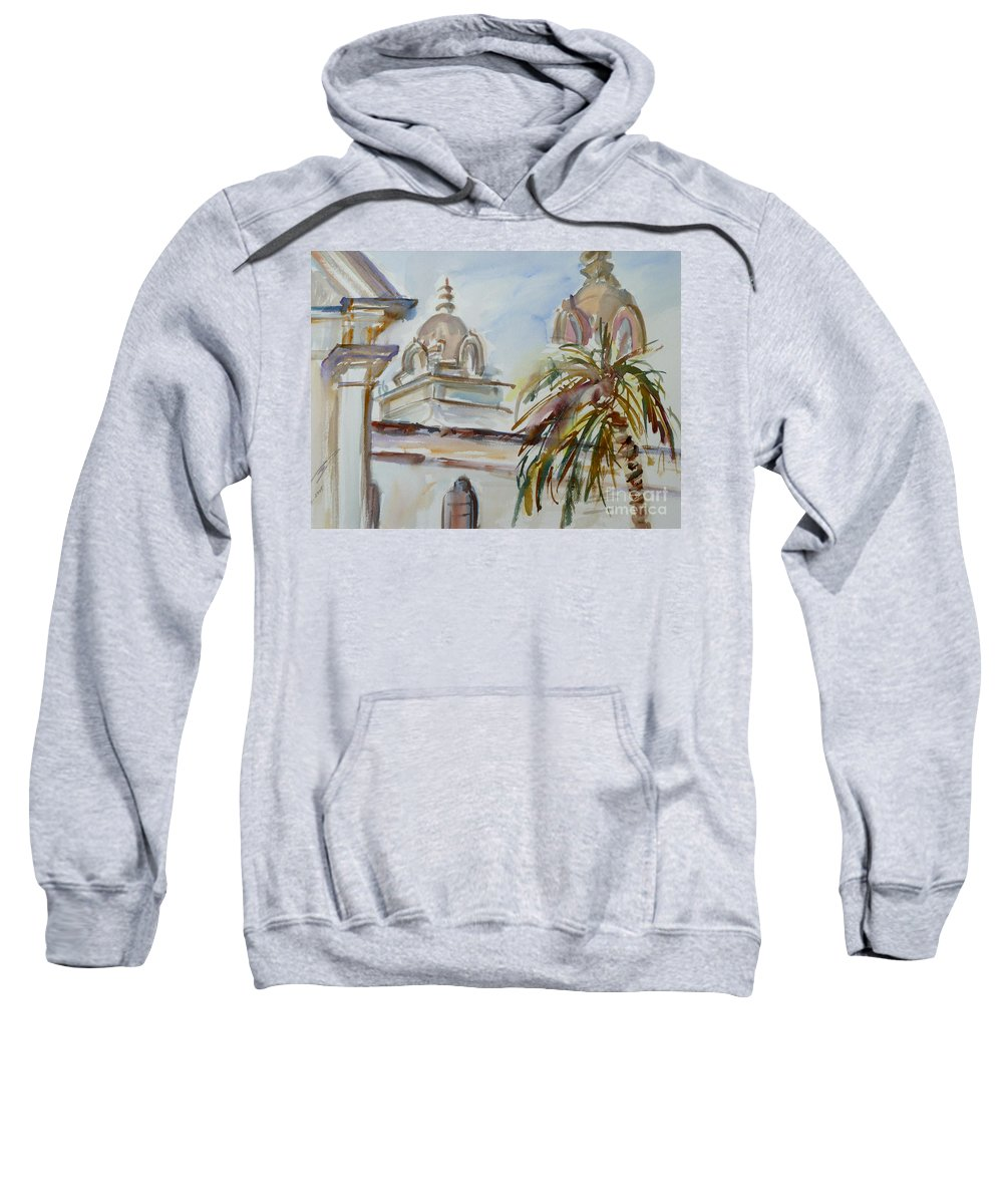 Mission Sweatshirt featuring the painting Mission Breath by Xueling Zou