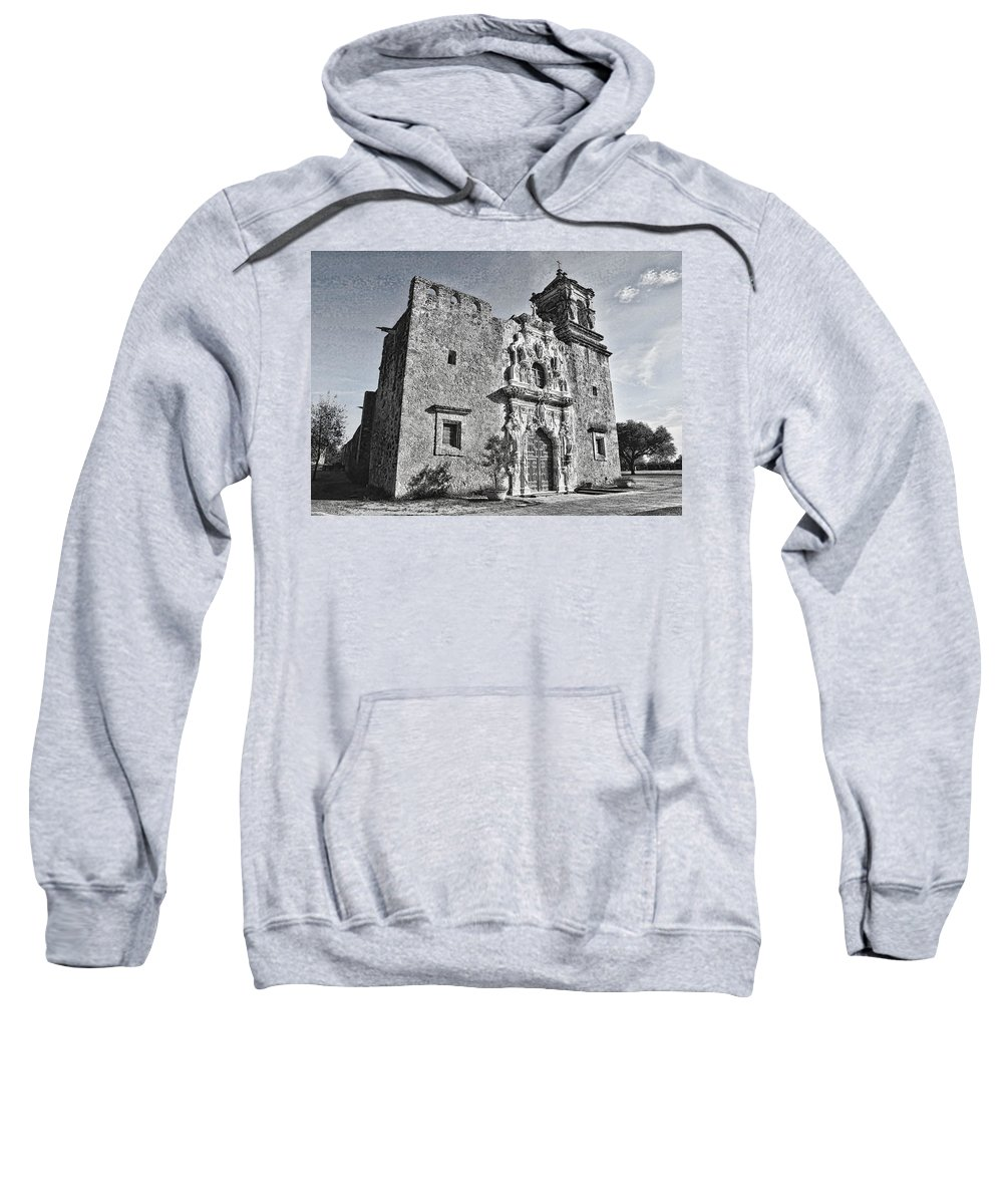 Texas Sweatshirt featuring the photograph Mission San Jose - No 2 by Stephen Stookey