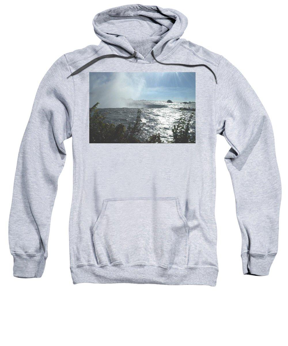 Landscape Sweatshirt featuring the photograph Mist At The Falls by Debbie Levene
