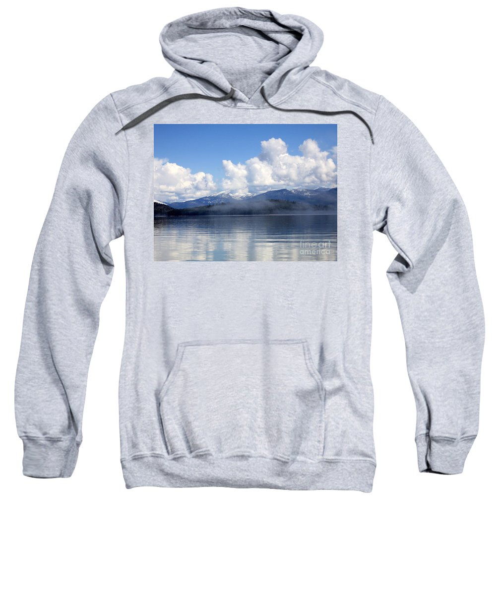 Priest Lake Sweatshirt featuring the photograph Mist Over Priest Lake by Carol Groenen