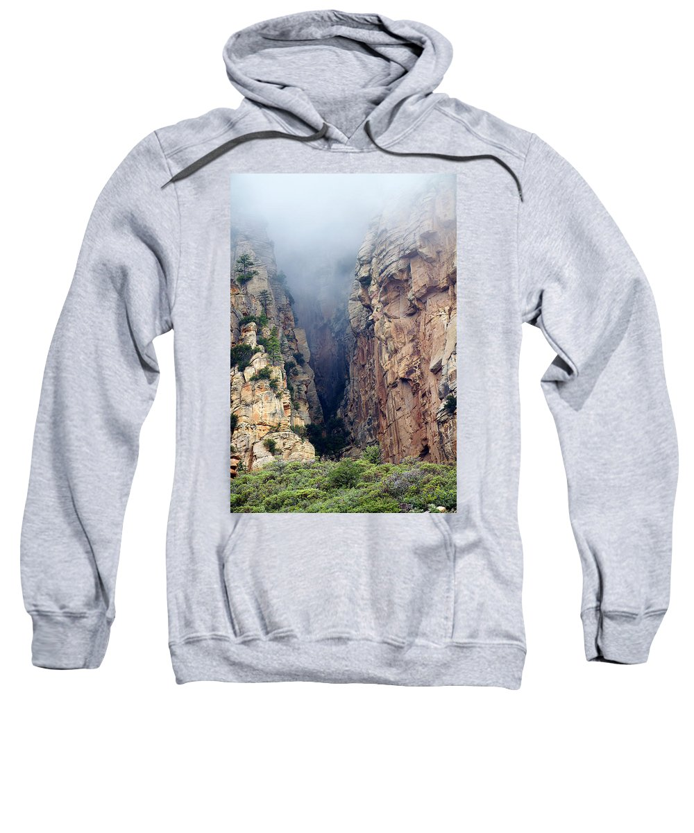 Red Rocks Sweatshirt featuring the photograph Misty Canyons by Phyllis Denton