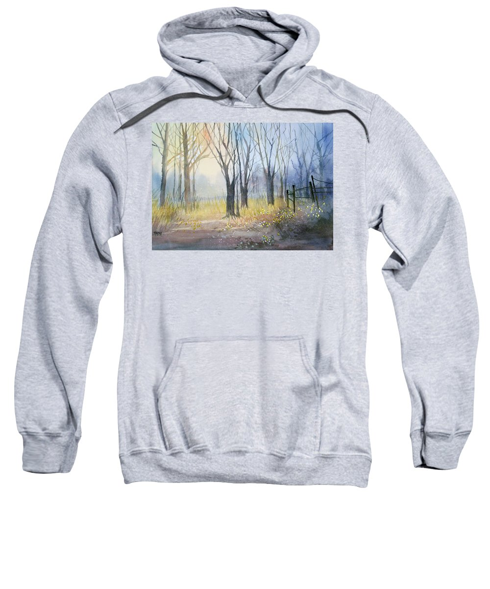 Watercolor Sweatshirt featuring the painting Misty Morning by Ryan Radke