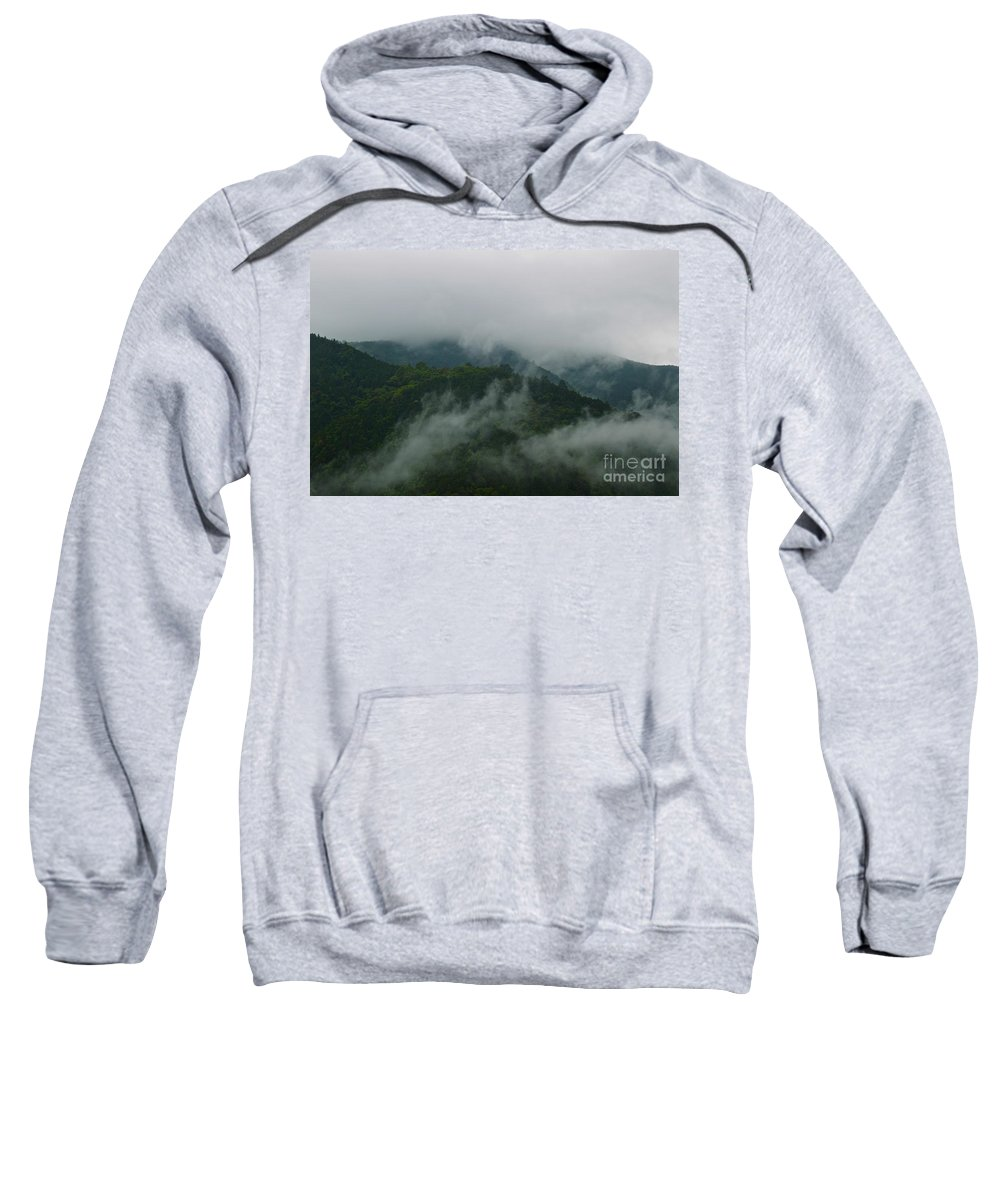 Forest Sweatshirt featuring the photograph Misty Mountains by MingTa Li