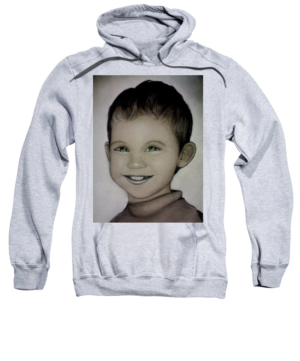 Portrait Sweatshirt featuring the drawing Mixalis by Catt Kyriacou