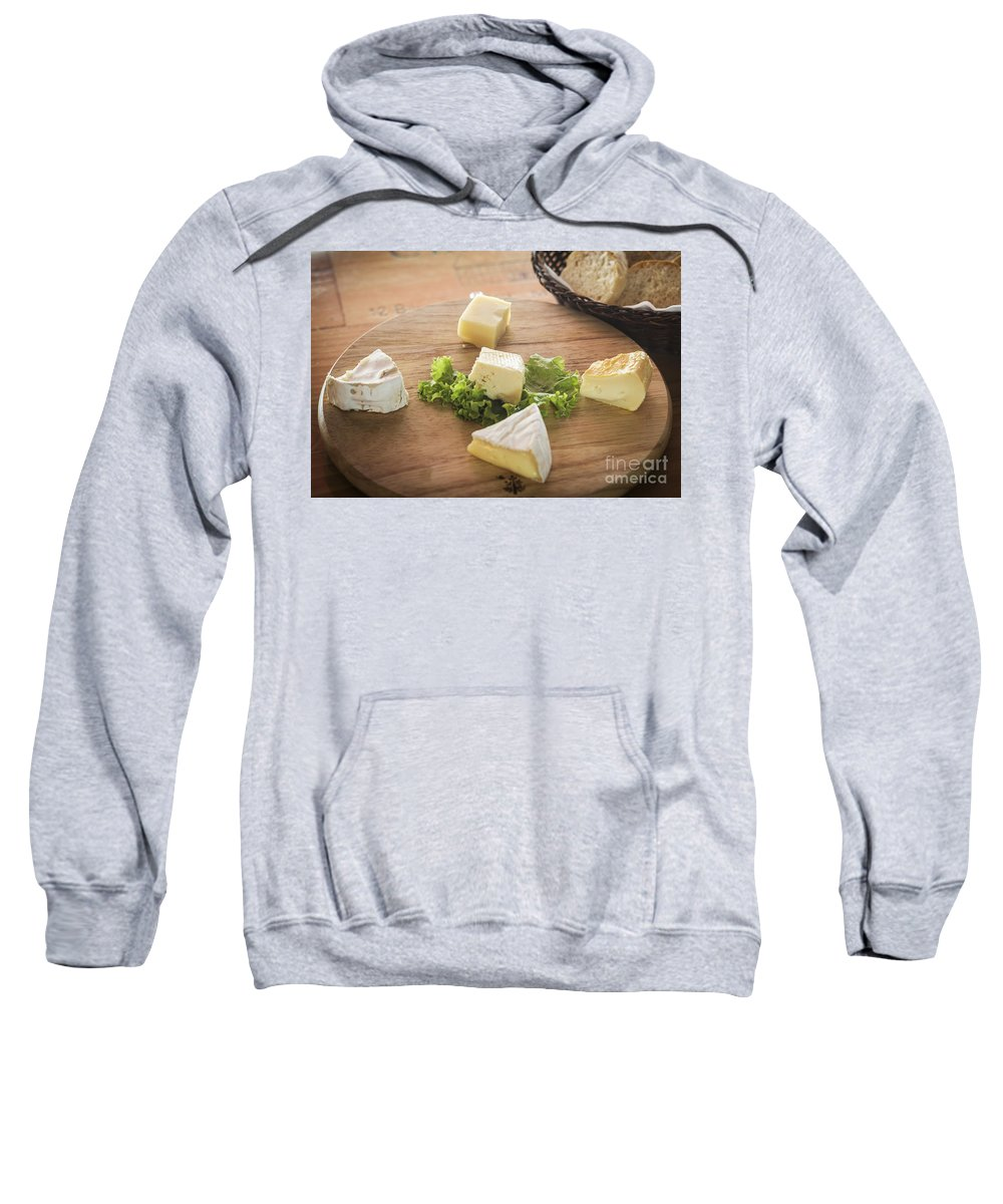 Basic Sweatshirt featuring the photograph Mixed French Cheese Platter With Bread by Jacek Malipan