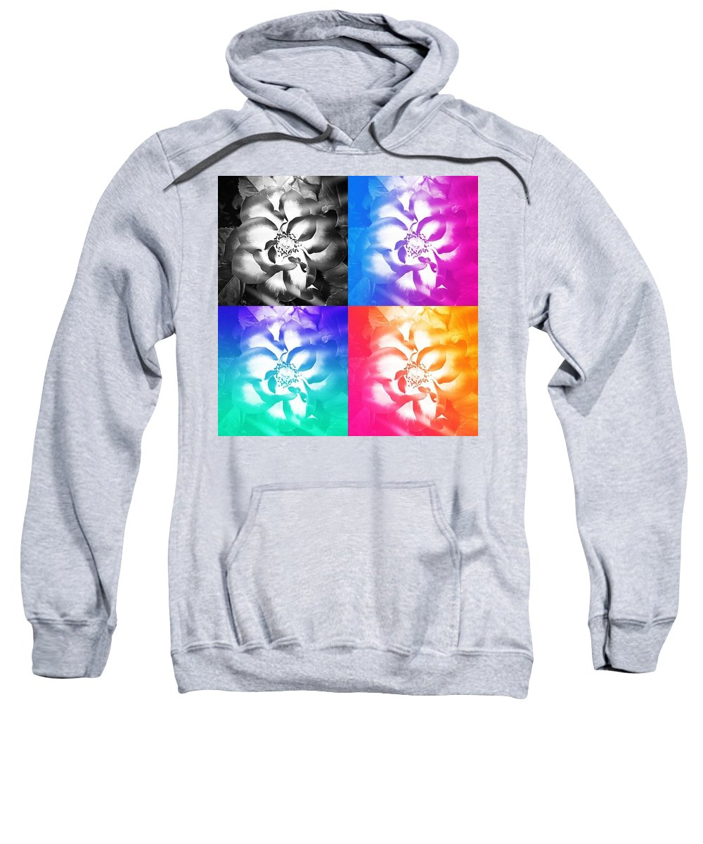 Modern Sweatshirt featuring the digital art Modern Art Meets My Flowers by Linda McAlpine