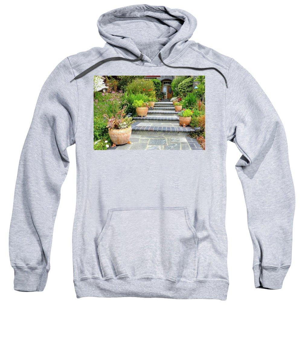 Modern House Sweatshirt featuring the photograph Modern Suburban House With Succulent Garden Hayward California 34 by Kathy Anselmo