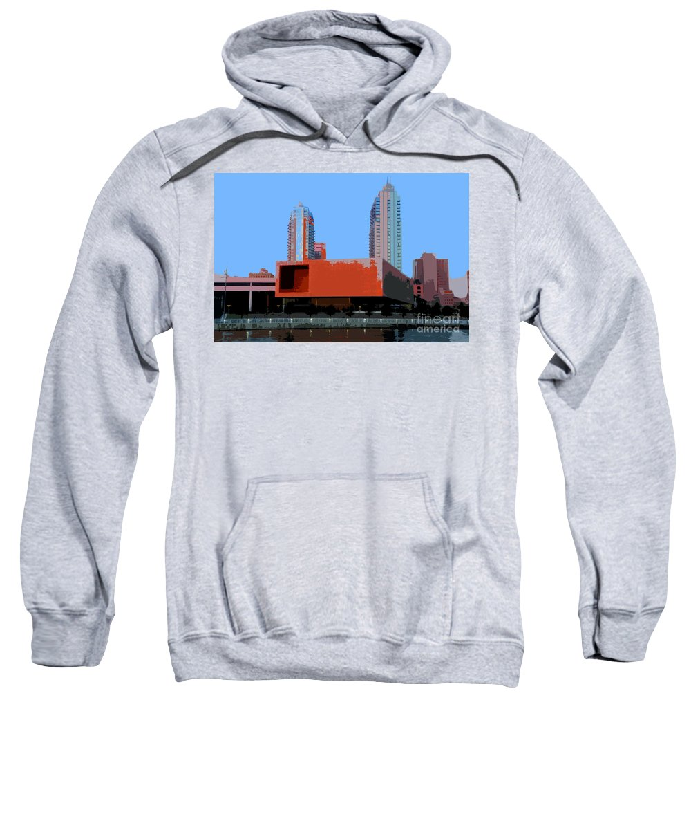 Tampa Florida Sweatshirt featuring the painting Modern Tampa by David Lee Thompson