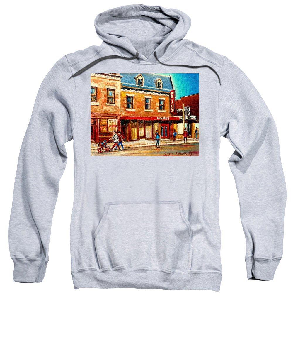 Moishes Steakhouse Sweatshirt featuring the painting Moishes The Place For Steaks by Carole Spandau