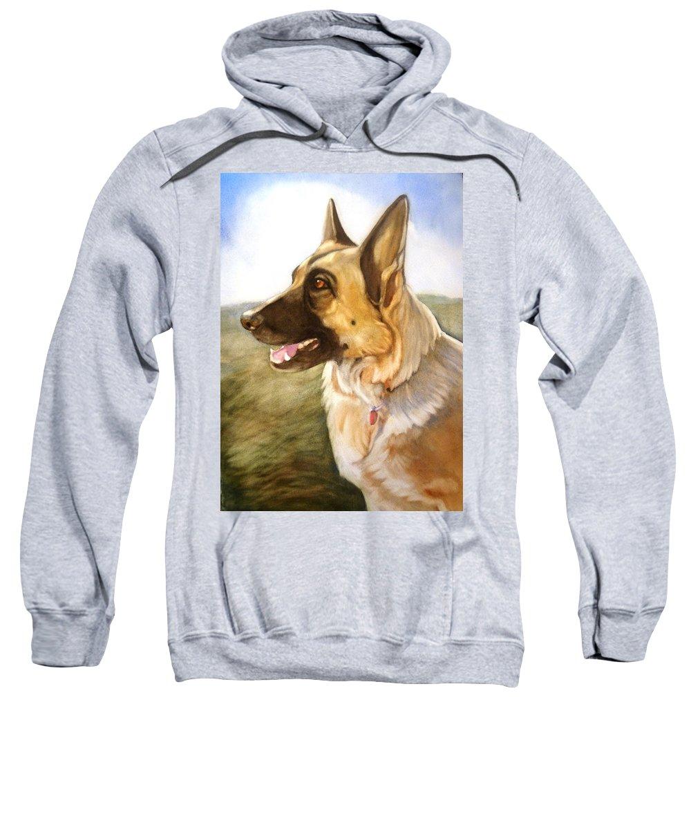 German Shepherd Sweatshirt featuring the painting Mollie by Marilyn Jacobson