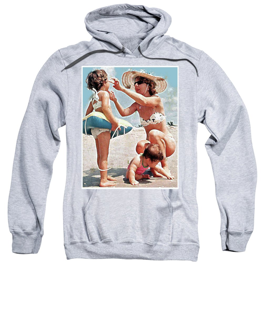 Beach Girls Mom Sweatshirt featuring the painting Mom With Girls At Beach by Royce Emley