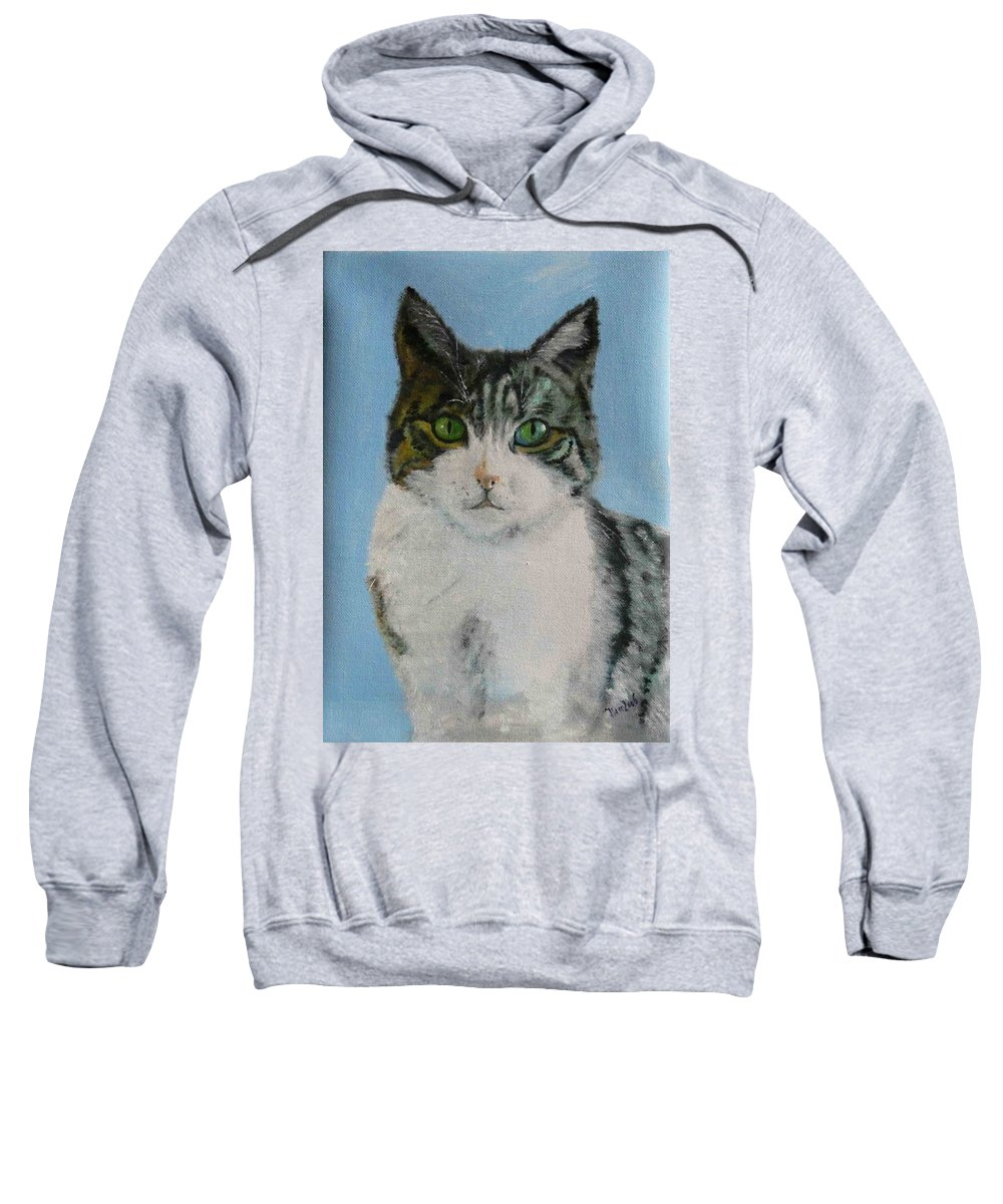 Tomcat Sweatshirt featuring the painting Momo by Helmut Rottler