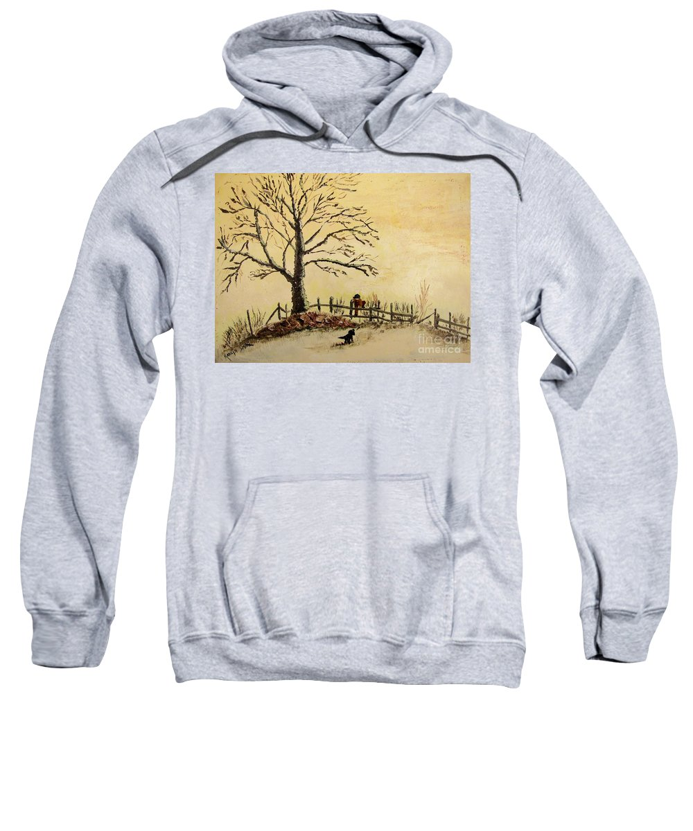 Boy With Dog Sweatshirt featuring the painting Mom's Calling by Marilyn Smith
