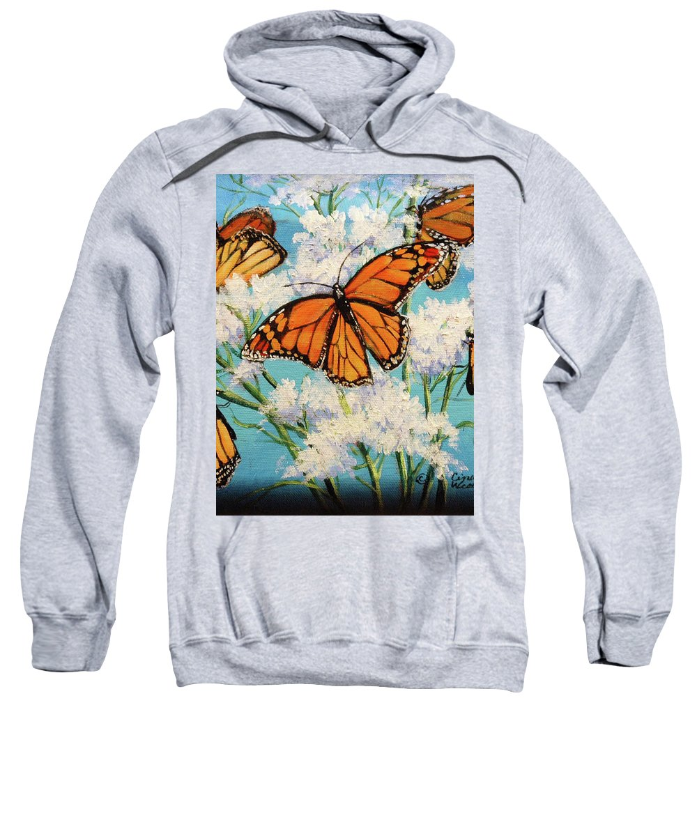Artwork Sweatshirt featuring the painting Monarchs by Cynthia Westbrook