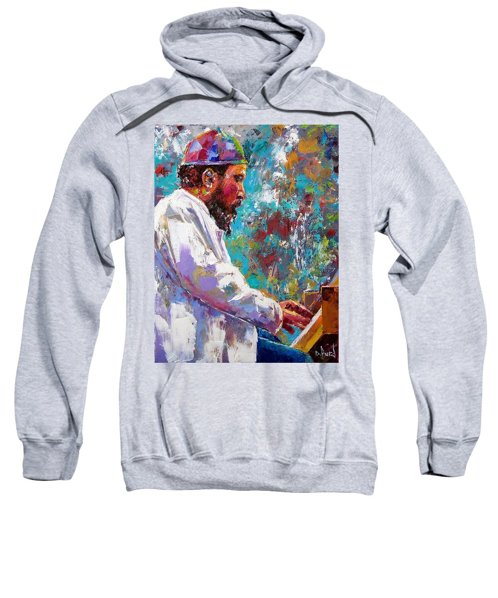 Thelonious Monk Art Sweatshirt featuring the painting Monk Live by Debra Hurd