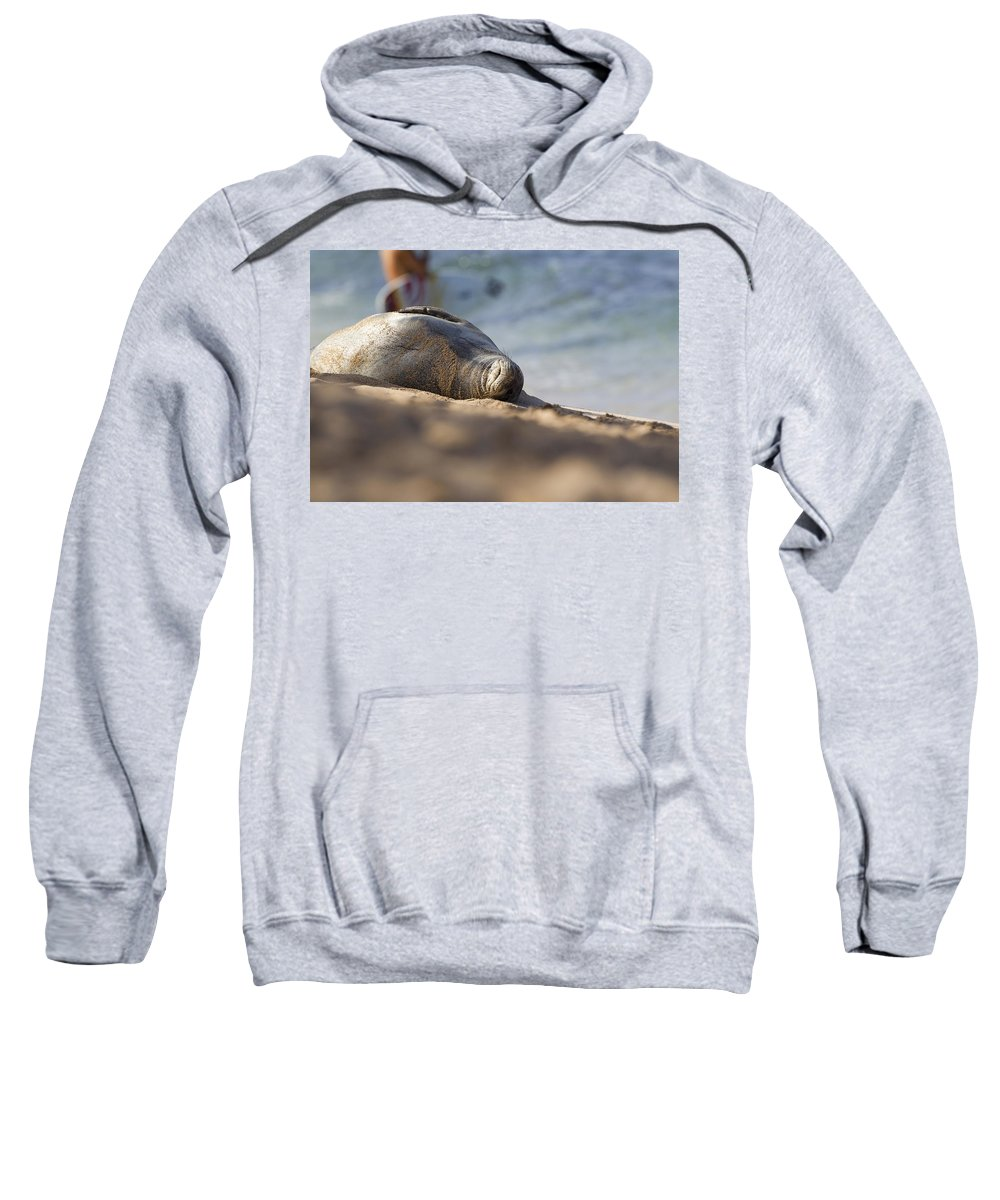 Seal Sweatshirt featuring the photograph Monk Seal Basking. by Michael Sangiolo