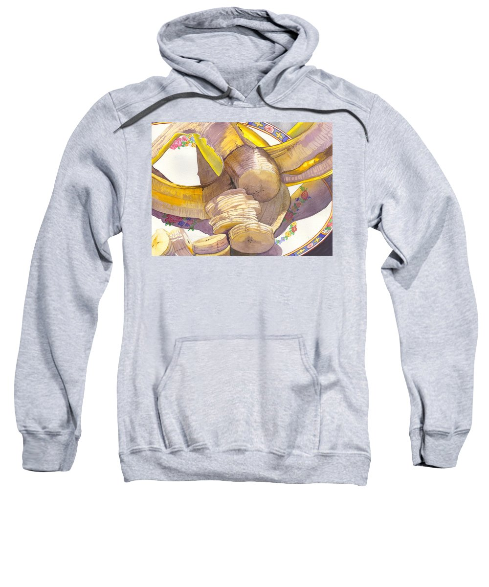 Banana Sweatshirt featuring the painting Monkey Bait by Catherine G McElroy