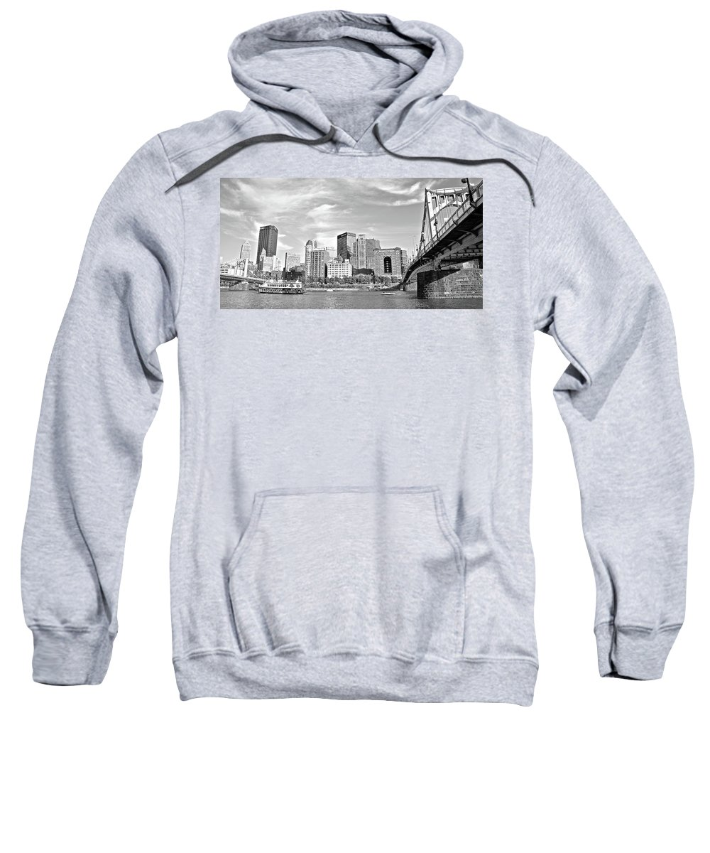 Pittsburgh Sweatshirt featuring the photograph Monochrome Pittsburgh Panorama by Frozen in Time Fine Art Photography