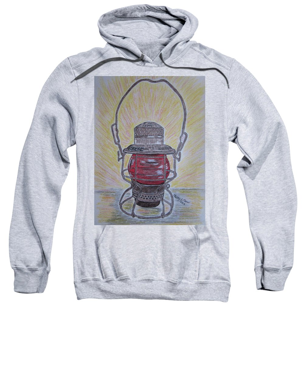 Monon Sweatshirt featuring the painting Monon Red Globe Railroad Lantern by Kathy Marrs Chandler