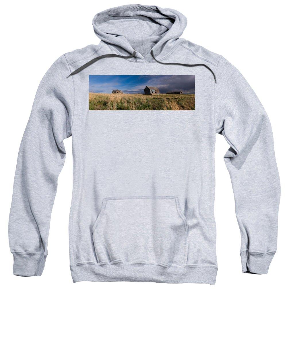 Plains Sweatshirt featuring the photograph Montana Prairie Homestead by Ward Thurman