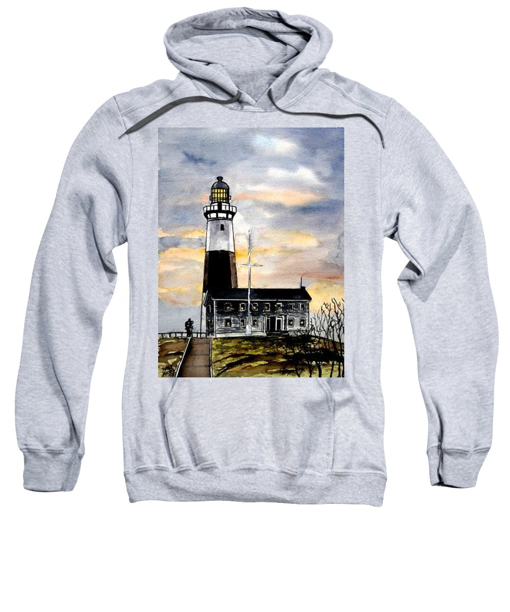 Montauk Point Sweatshirt featuring the painting Montauk Point Lighthouse by Derek Mccrea