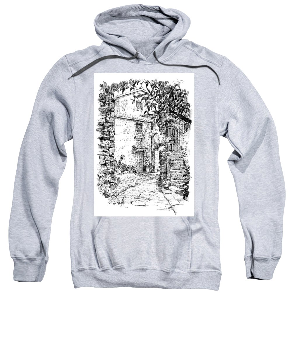 Montefioralle Sweatshirt featuring the drawing Montefioralle Tuscany by Ken Pieper