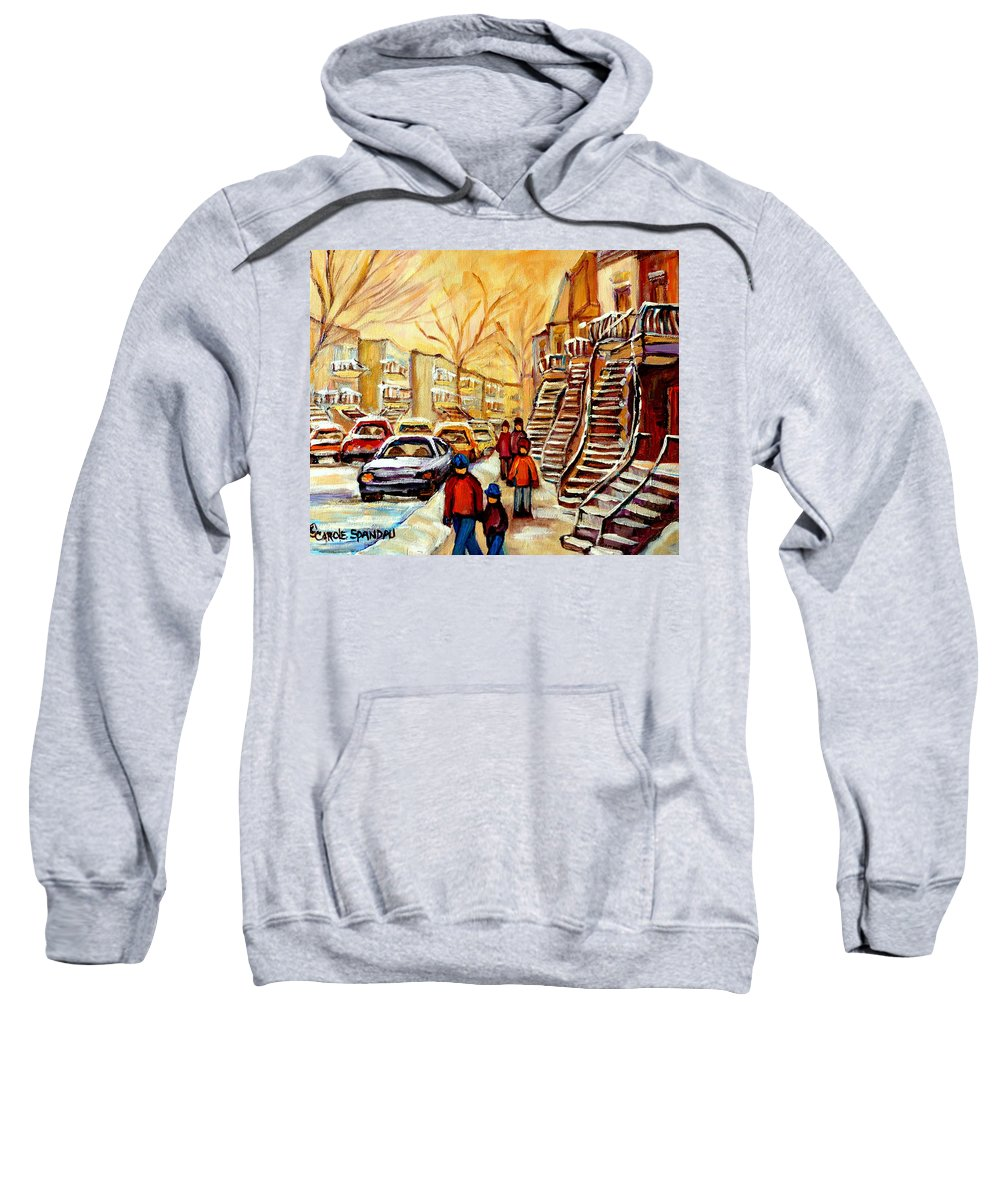 Montreal Sweatshirt featuring the painting Montreal City Scene In Winter by Carole Spandau