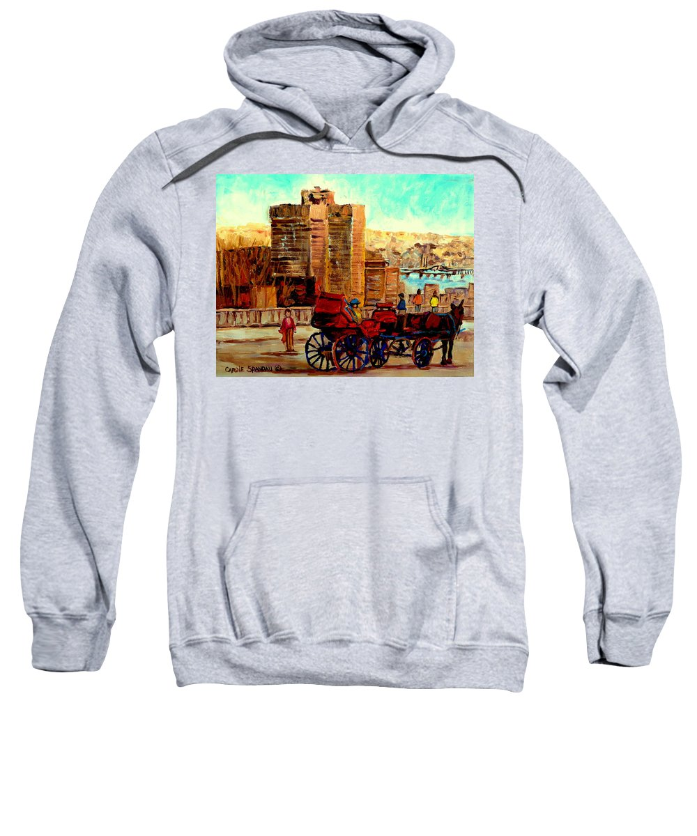 Montreal City View Sweatshirt featuring the painting Montreal City View by Carole Spandau
