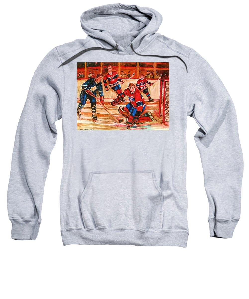 Montreal Forum Hockey Sweatshirt featuring the painting Montreal Forum Hockey Game by Carole Spandau