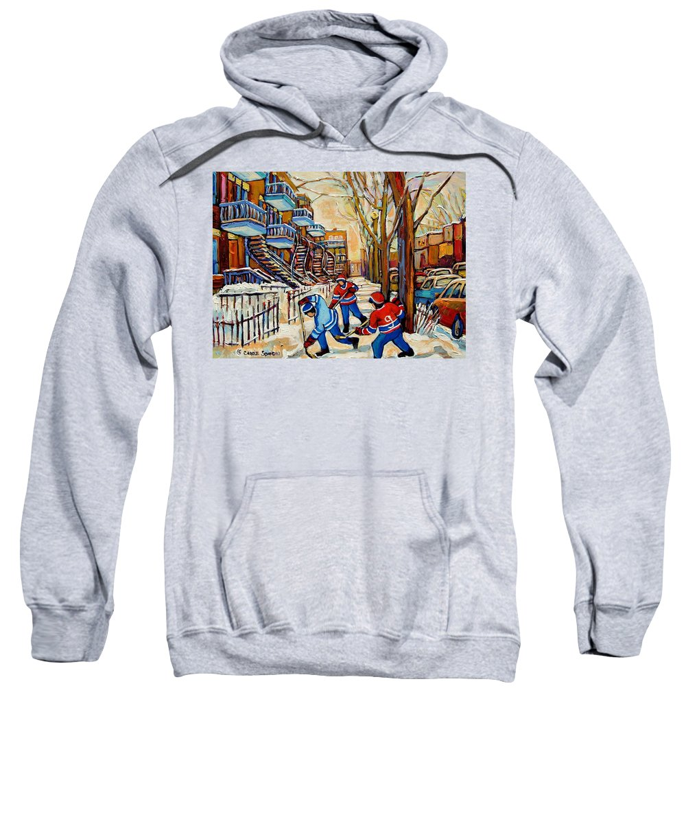 Montreal Hockey Game With 3 Boys Sweatshirt featuring the painting Montreal Hockey Game With 3 Boys by Carole Spandau