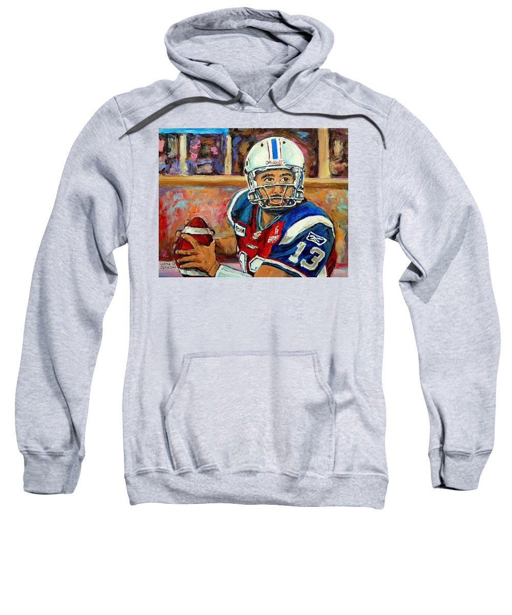 Anthony Calvillo Sweatshirt featuring the painting Montreal Je Me Souviens By Montreal Streetscene Artist Carole Spandau by Carole Spandau
