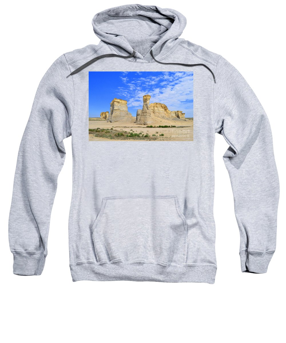Monument Rocks Sweatshirt featuring the photograph Monument Rocks In Kansas 2 by Catherine Sherman