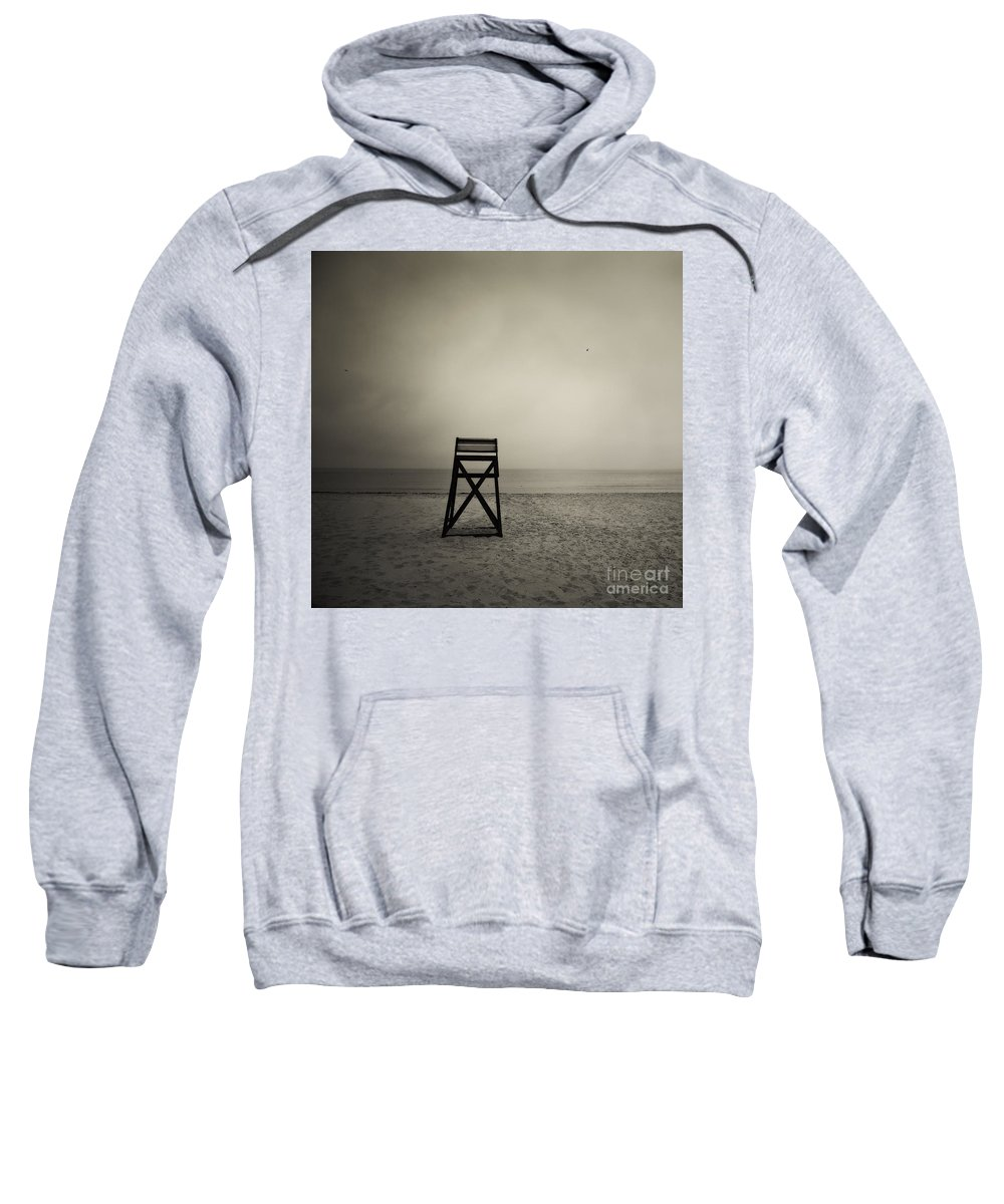 B&w Sweatshirt featuring the photograph Moody Lifeguard Stand On Beach. by John Greim