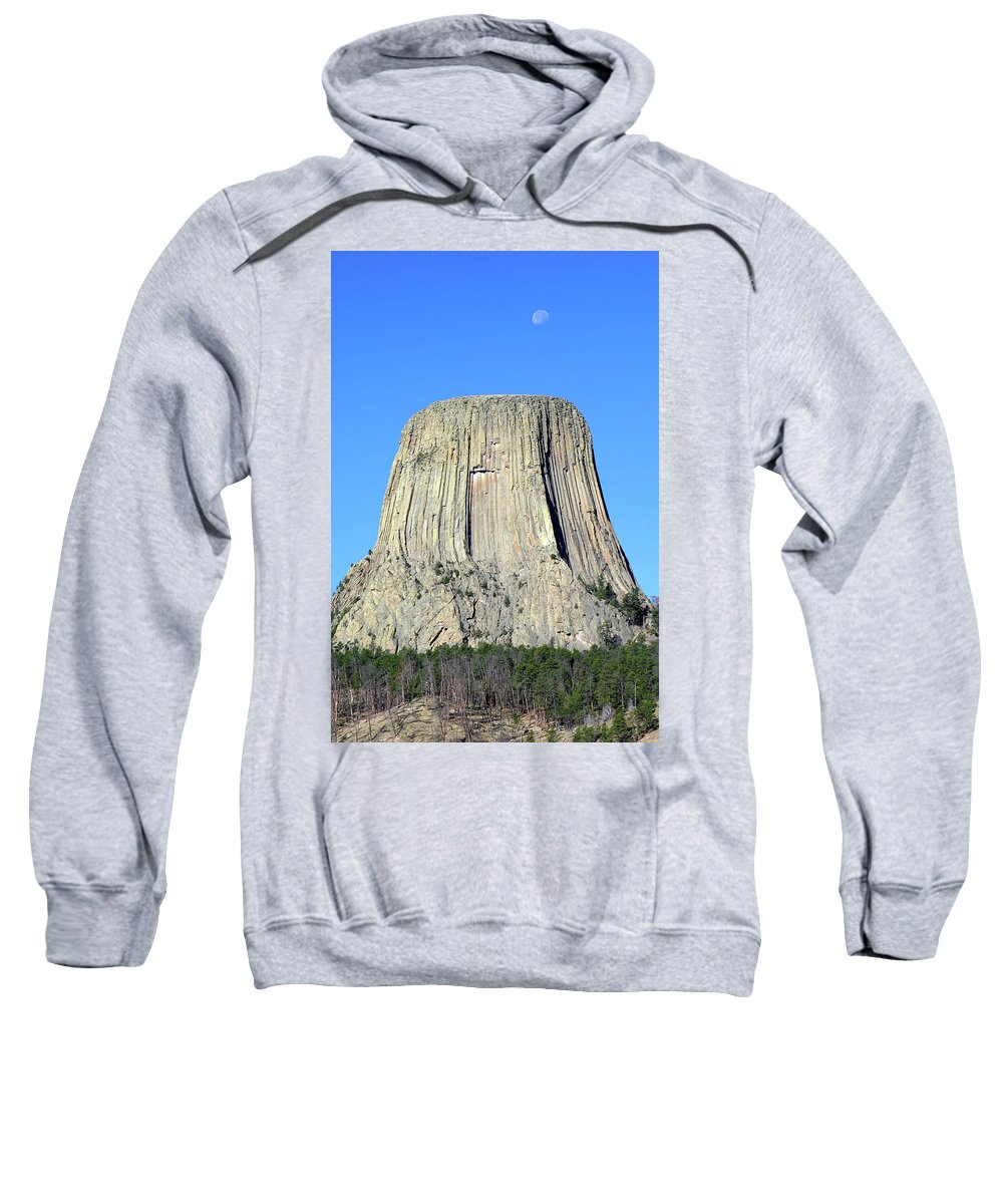 Black Hills Foothills Sweatshirt featuring the photograph Moon And Devil's Tower National Monument, Wyoming by Robert Mutch
