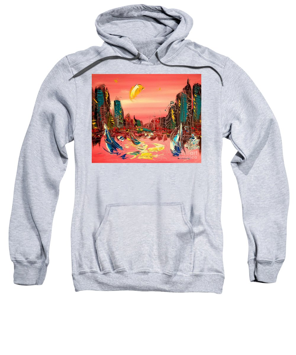 New York Sweatshirt featuring the painting Moon City by Mark Kazav