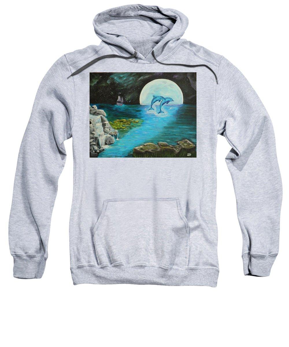 Blue Moon Sweatshirt featuring the painting Moon Light Swim by David Bigelow