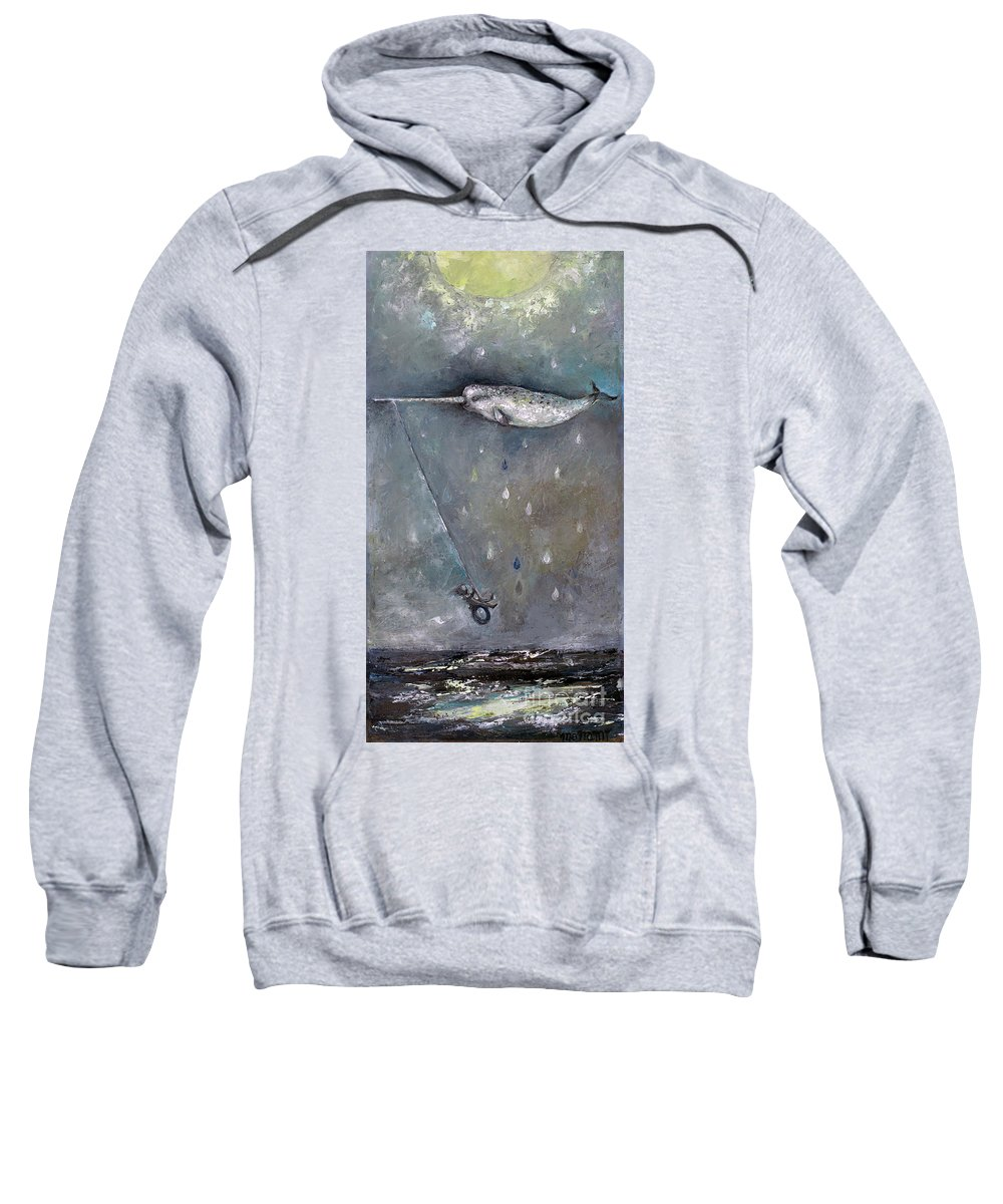 Moon Sweatshirt featuring the painting Moon Swing by Manami Lingerfelt