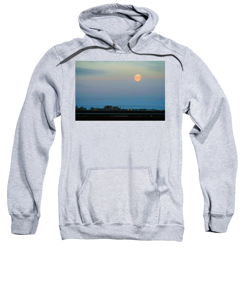 Landscape Sweatshirt featuring the photograph Moon Over Flow Station 1 by Anthony Jones