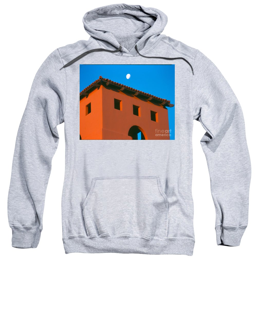 Sweatshirt featuring the photograph Moon Over Red Adobe Horizontal by Heather Kirk