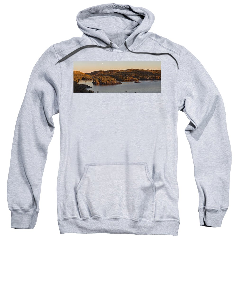 Panorama Sweatshirt featuring the photograph Moon Rise Over Pukaskwa by Doug Gibbons