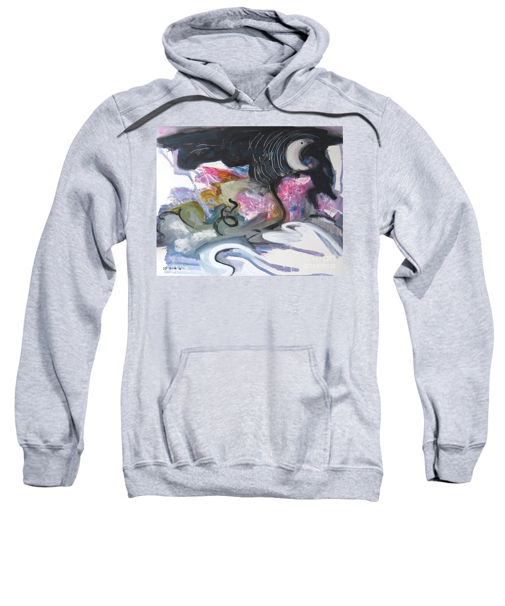 Abstract Paintings Sweatshirt featuring the painting Moonlight Fever by Seon-Jeong Kim
